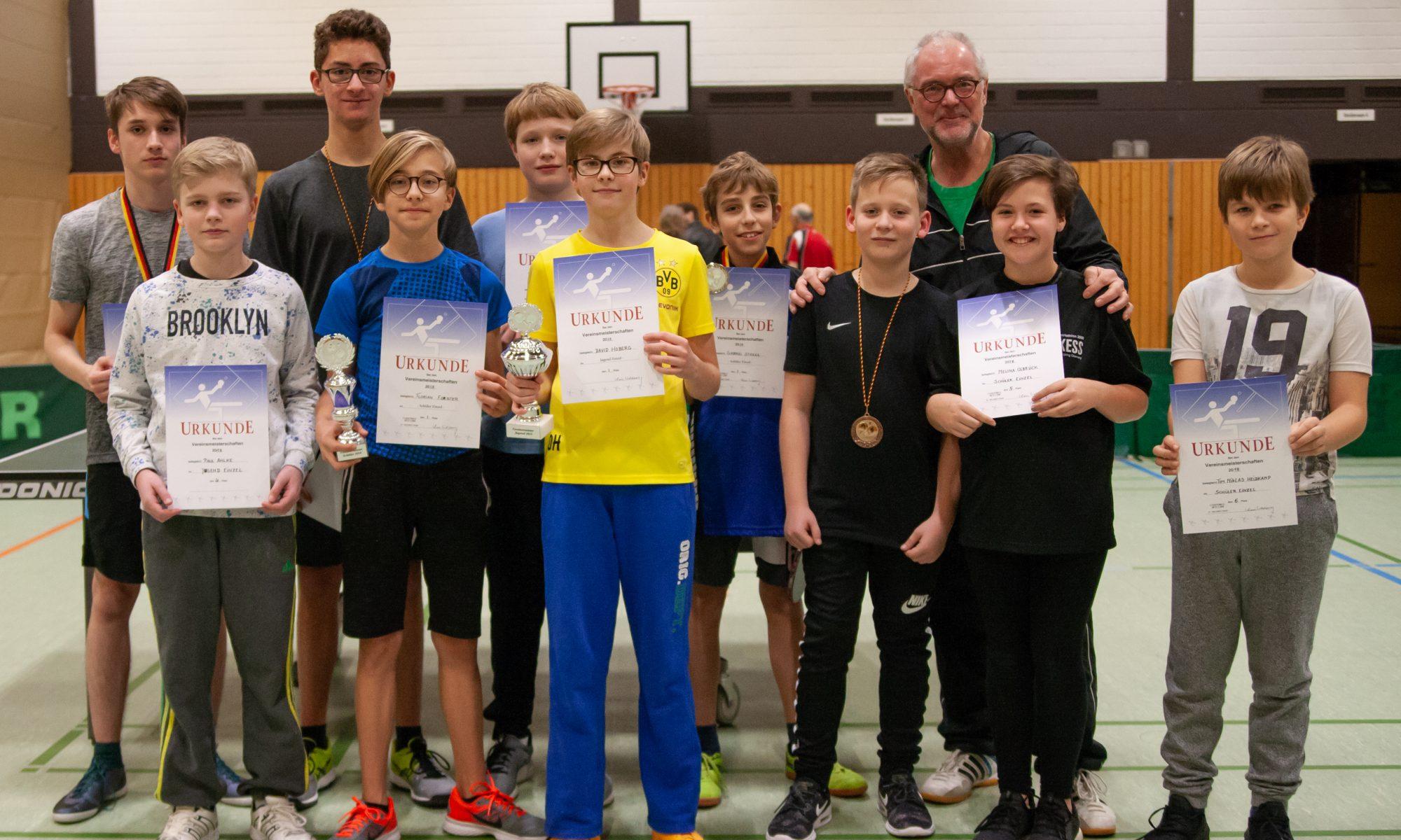 Vereinsmeisterschaft, Tischtennis, Jugend, Schüler